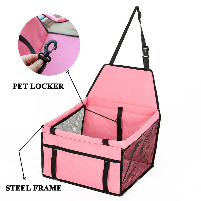 E-FOUR Doggy Deluxe Dog Booster Car Seat Premium Quality Metal Frame Construction Clip-on Safety Leash Zipper Storage Pocket Car
