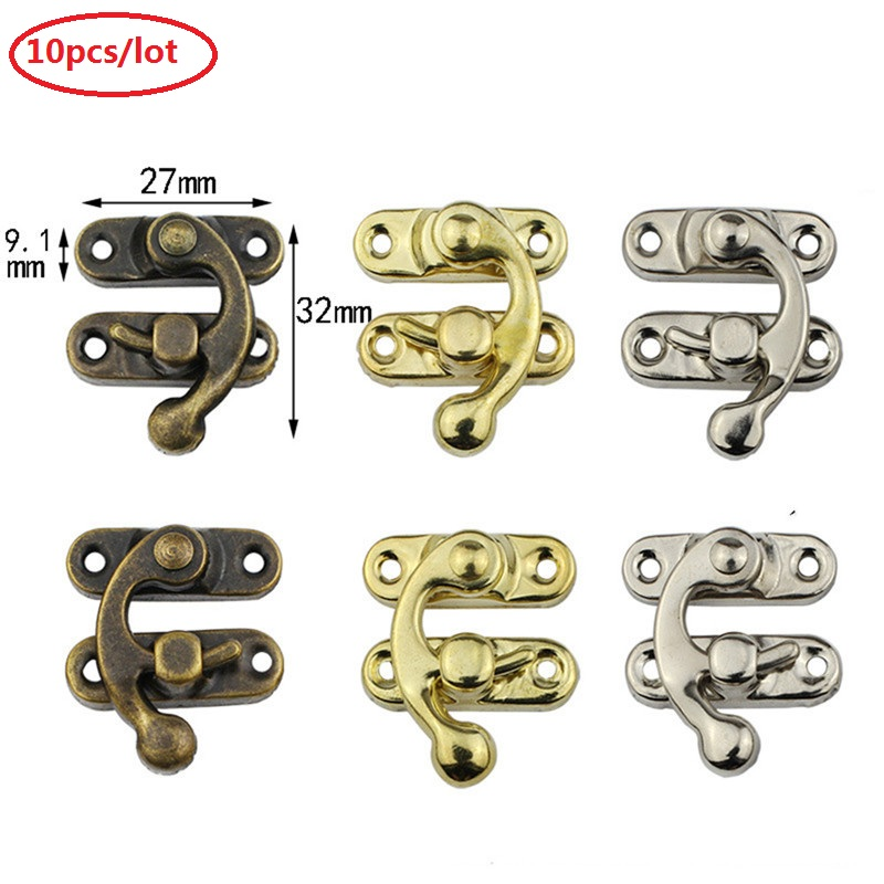 10PCS/lot Small Antique Metal Lock Decorative Hasps Hook Gift Wooden Jewelry Box Padlock With Screws For Furniture Hardware