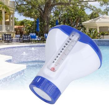 Pływające 5 Cal chloru bromu Tablet automatyczny dozownik z wbudowany termometr na basen spa jacuzzi fontanna tanie i dobre opinie 5 Inch Dispenser