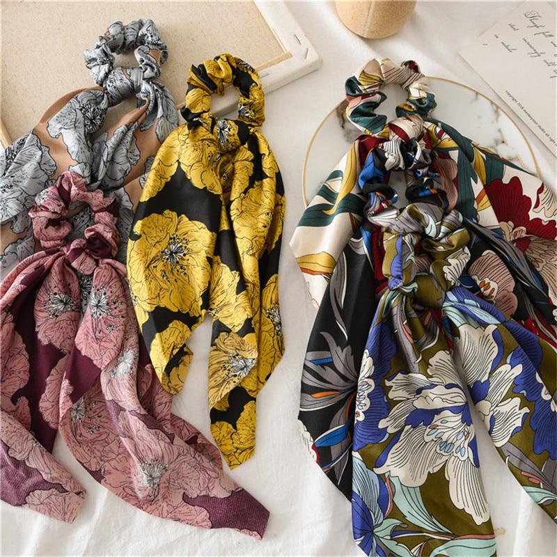 Ruoshui Woman Printed Floral Hair Scrunchies Soft Hair Ring Girls Hairband Hair Ties Ladies Rubber Band Women Hair Accessories