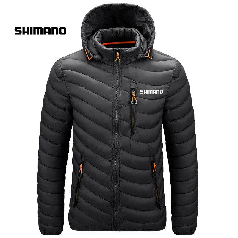 Рыболовная одежда Shimano для мужчин, зимнее однотонное пальто, теплая светильник рыболовная куртка, дышащая рыболовная рубашка, уличная одежд...