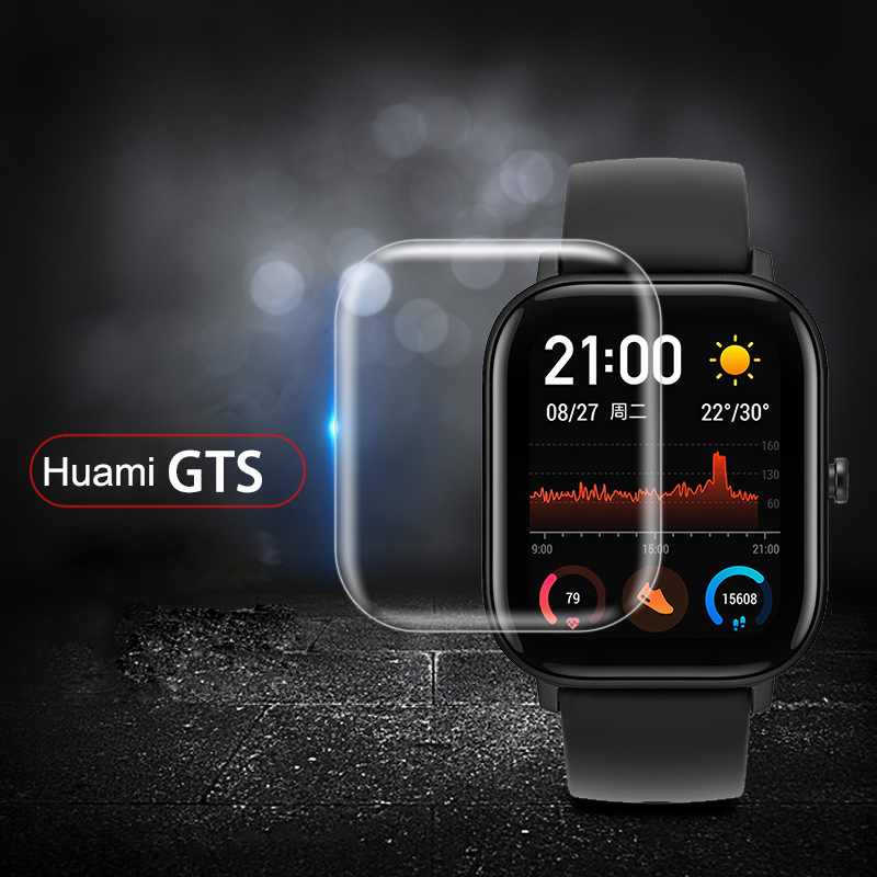 3pcs Tempered Glass Film Screen Protector For Xiaomi Huami Amazfit GTS Smart Watch  Soft TPU HD Protective Screen Film TSLM1