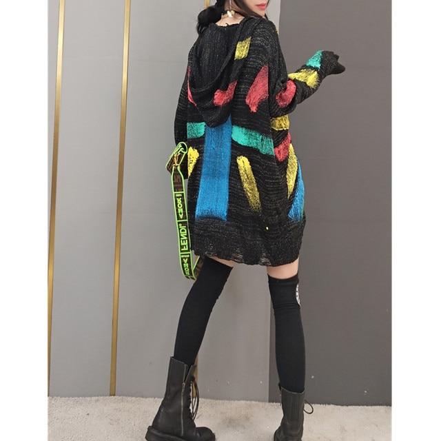 Tide brand women 2021 spring new fashion sweater women's Korean style hooded sweater star sweater mid-length fashion streetwear 5