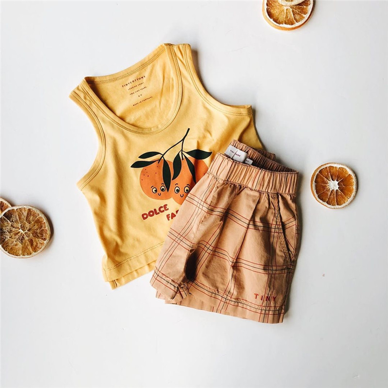 2020 Fashion Brand Kids Summer Tshirt and Shorts Toddler Boys Girls Orange T Shirts Children Stylish Tee Shirt Baby Cartoon Tops 2