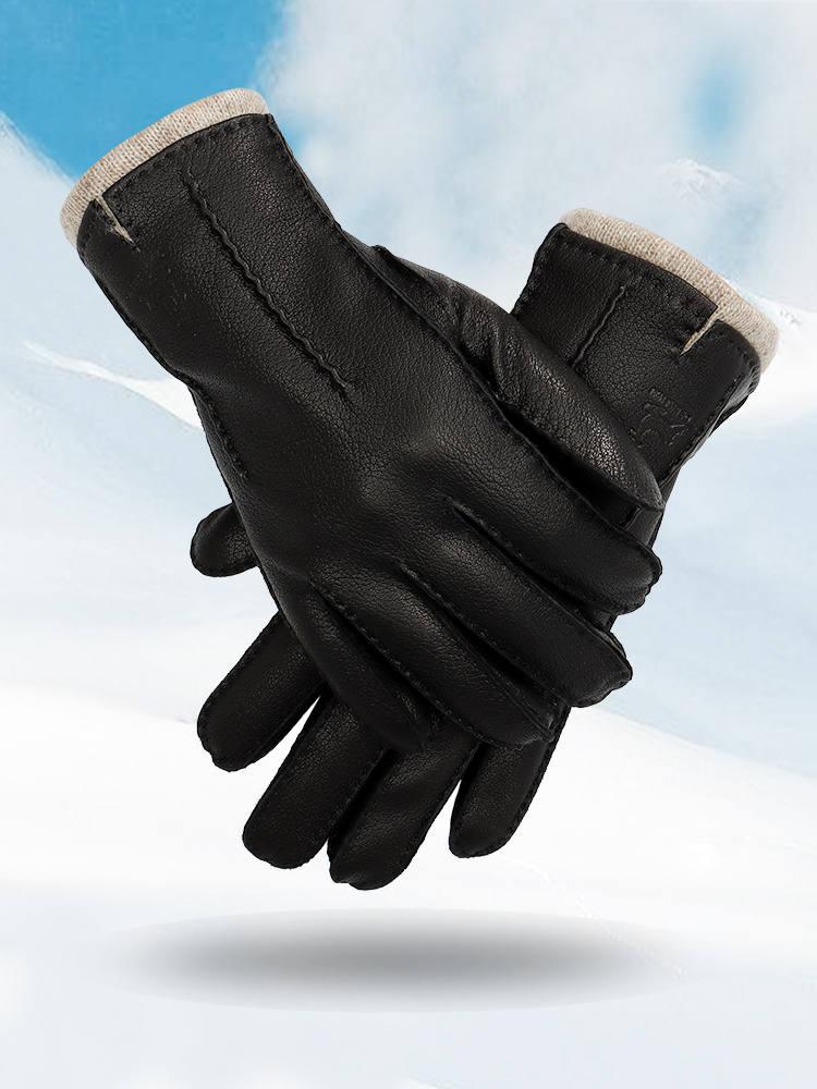 Deerskin-Gloves Mitten Warm Winter And Black Autumn Soft Men Hand-Stitched 70%Wool-Lining