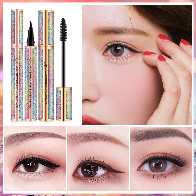 2 pcs conjunto de maquiagem para os olhos incluem delineador liquido e rimel a prova dwaterproof