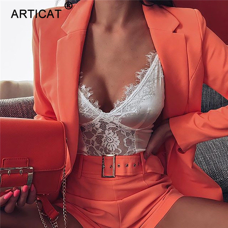 Articat Sexy Office Lady Two Piece Set Women Suit 2020 Summer Autumn Blazer And Pants Jumpsuit Set Casual Suits Outfits