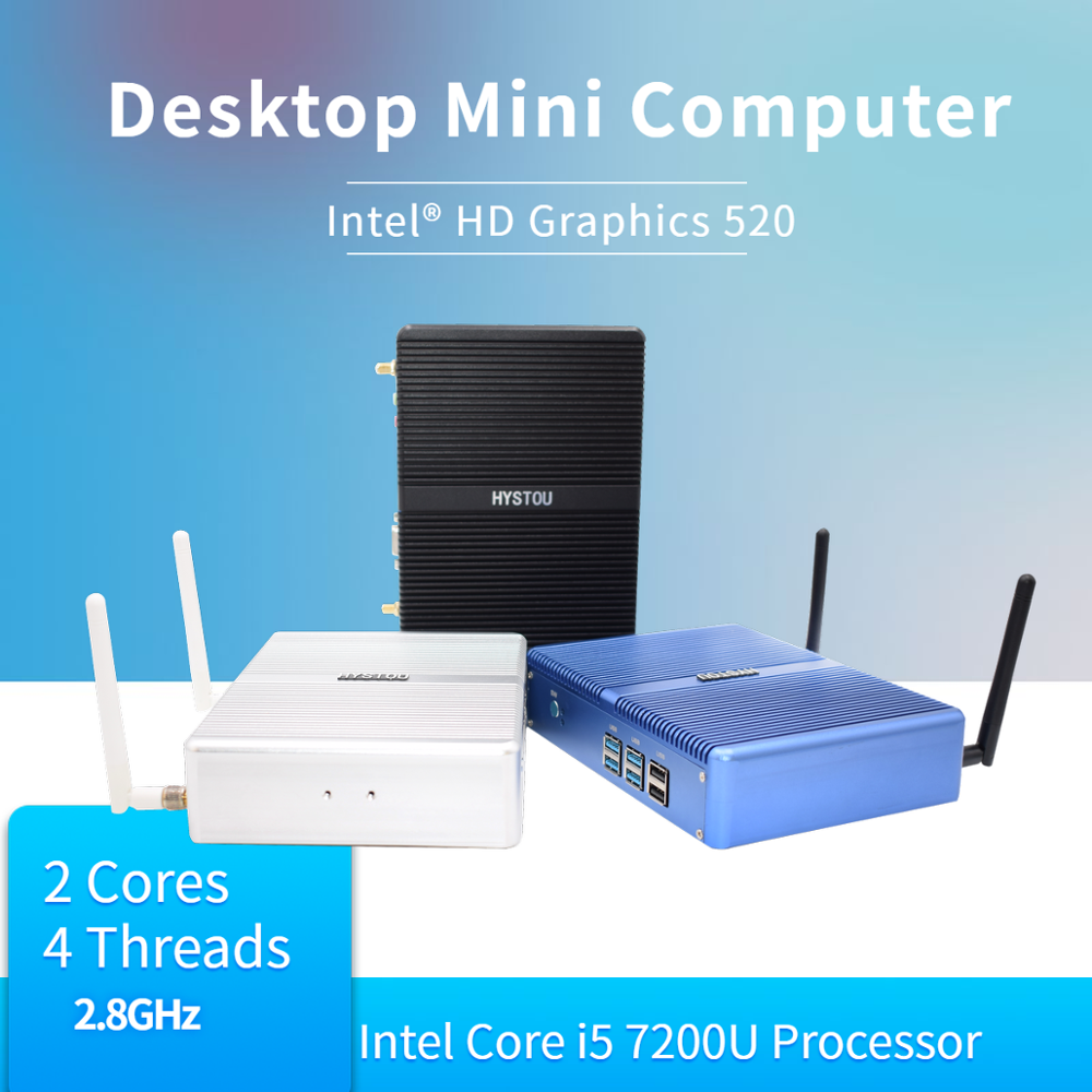 2019 New HYSTOU Fanless Mini PC Wind 10 Intel NUC Core I5 I3 I7 Celeron 2955U Micro Desktop Computer X86 Nettop