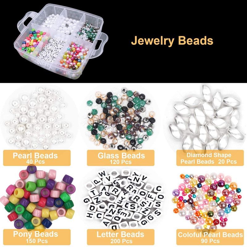Jewelry Making Supplies Kit Jewelry Making Tools Kit Includes Beads Wire for Bracelet and Pearl Beads Spacer Beads Jewelry Plier 2