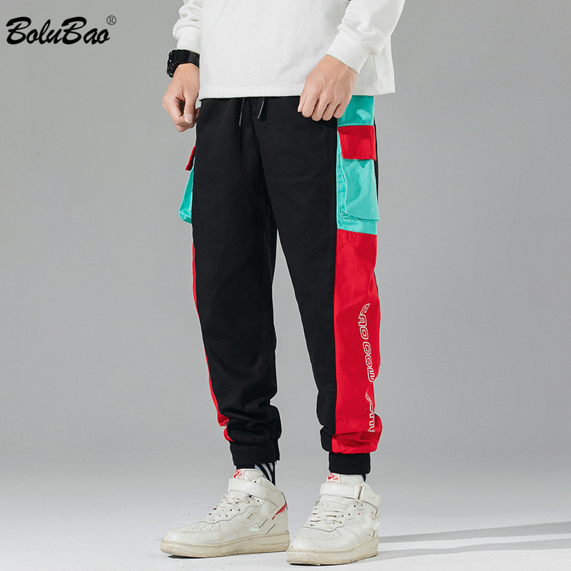 BOLUBAO 2020 New Men Casual Pants Men's Trend Letter Print Straight Pants Male Hip Hop Patchwork Cargo Pants Brand Clothing