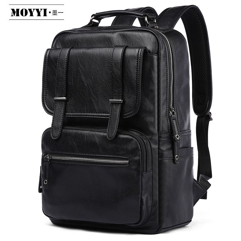 MOYYI Leather PU Backpack Men Mochila 14/15.6 Inch Laptop Backpack Multifunction School Travel Waterproof Bag For Male