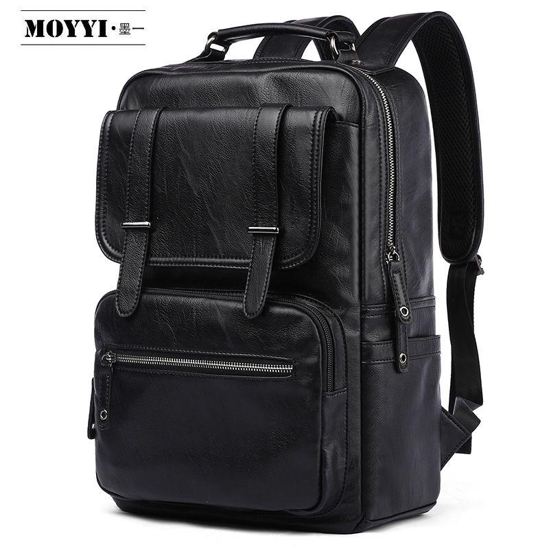 MOYYI Leather PU Backpack Men Mochila 14/15.6 Inch Laptop Backpack Multifunction School Travel Waterproof Bag For Male