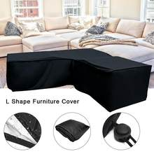 Black Waterproof L Shape Corner Dust Cover Garden Sofa Rattan Cover Furniture Dust Proof Cover Outdoor All-Purpose Covers(China)