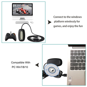 Image 2 - For xbox360 New Black PC USB Gaming Receiver For Microsoft Xbox 360 Wireless Controller Free Shipping