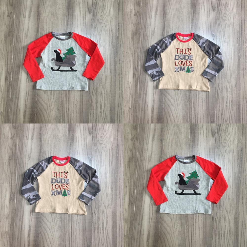 Girlymax Christmas Fall/Winter Baby Boys Boutique T-shirts Clothes Dude Love Xmas Sled Tree Cotton Top Raglan Camo Long Sleeve 1