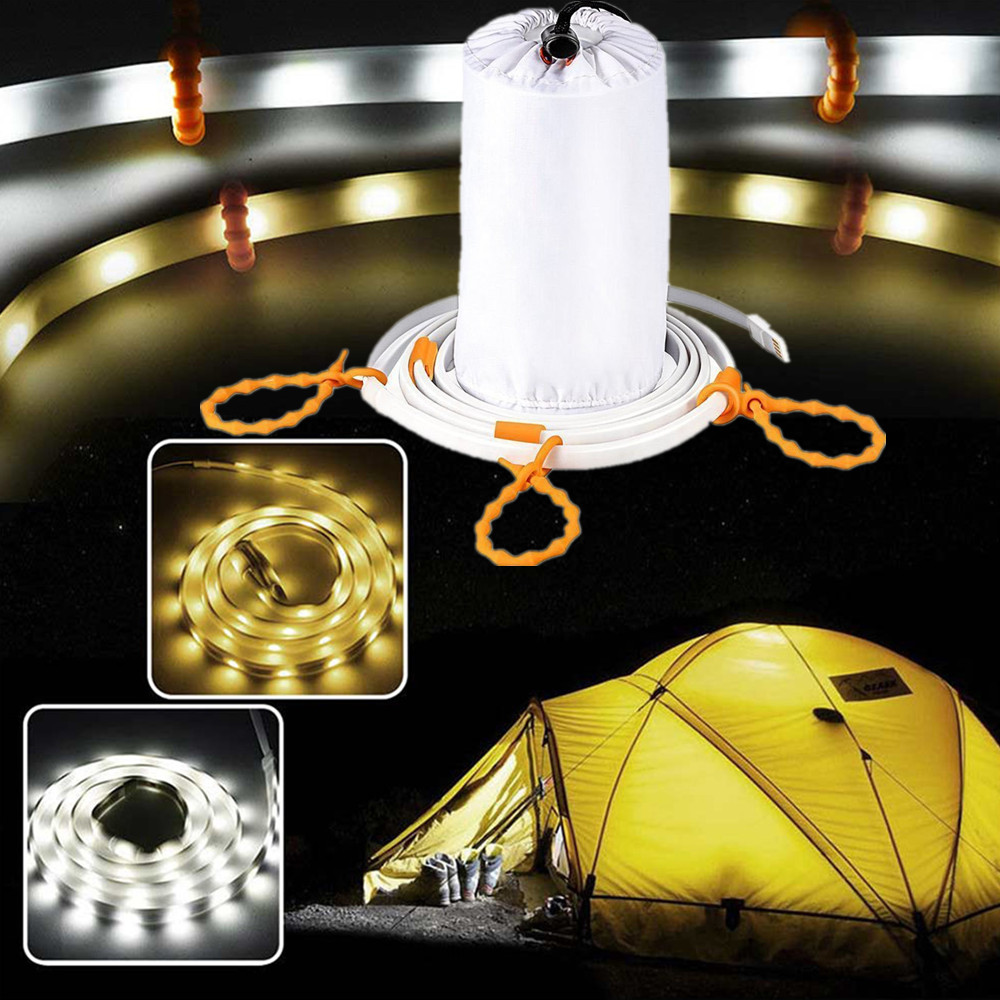 Led Strip Outdoor Tent Lamp Portable USB Plug Waterproof Camping Warm White Led Light DC5V Rope Light Lantern Lights 1m 1.5m