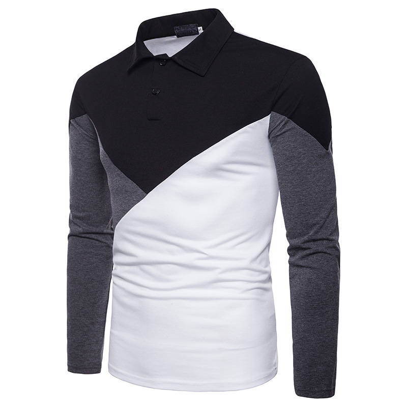 For Autumn And Winter Three-Color Fashion Joint Fold-down Collar MEN'S Long Sleeve Polo B11