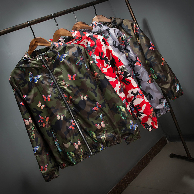 Mens Casual Camouflage Hoodie Jacket 2018 New Autumn Butterfly Print Clothes Men's Hooded Windbreaker Coat Male Outwear WS505 6