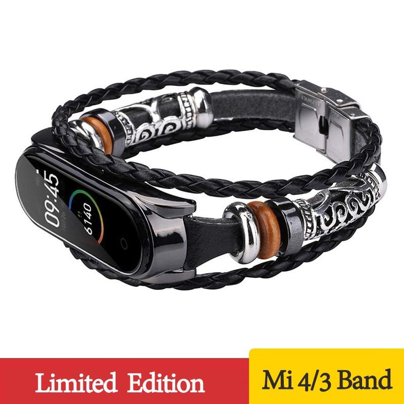 Wrist Strap For Xiaomi Mi Band 4 3 Band Vintage Leather Bracelet For Mi Band 3 4 Wristband Accessories For Mi Band 3 Bracelet