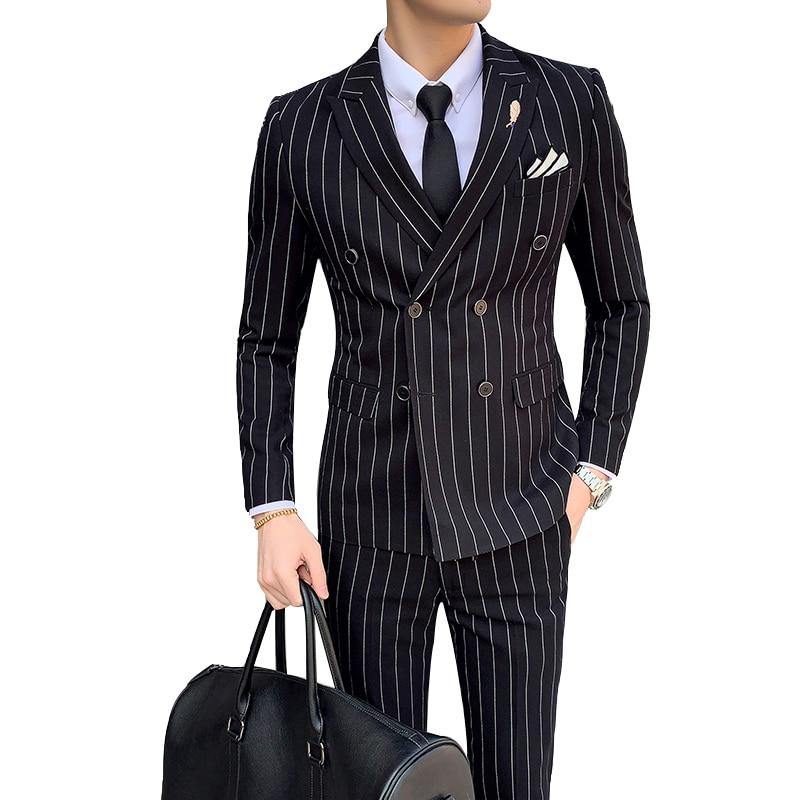 Luxury Fashion Men's Striped Suit Double-Breasted Slim Tuxedo Formal Men's Casual Wedding Best Men's Clothing (Coat+Vest+Pants)