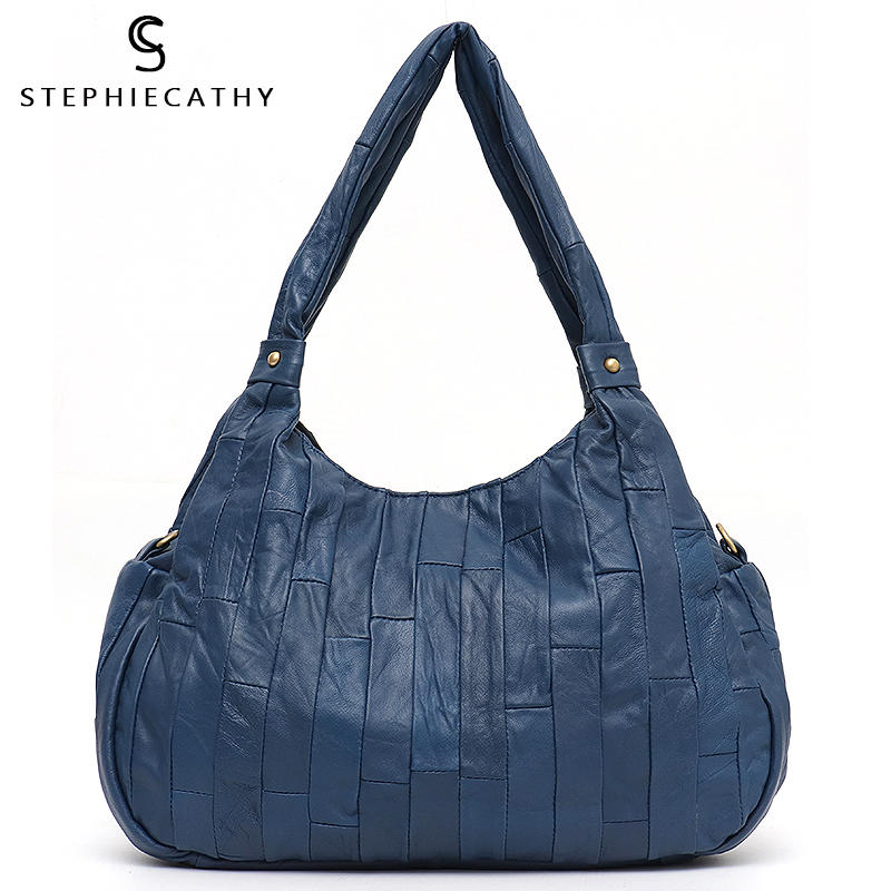 SC Real Leather Tote For Women Casual Sheepskin Patchwork Messenger Hobo Ladies Vintage Shoulder Handbag Femal Crossbody Purse