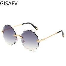 Gisiaev – lunettes de soleil rondes sans cadre pour femmes, verres de conduite en diamant, lunettes de soleil Vintage dégradées, à la mode