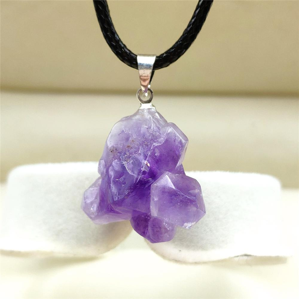 Healing Purple Amethyst Tumbled Donut Ring Crystal Gemstone on Cord Necklace