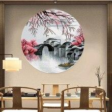 Пейзаж Цзяннань, узоры, вышивка крестиком, набор, печать, ткань, нить, считается, полная, вышивка, набор, вышивка крестиком, рукоделие