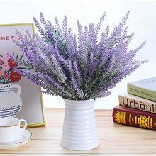 1 buket Provence lavanta yapay çiçekler için yüksek kaliteli çiçek ev dekor tahıl dekoratif sahte bitki ipek çiçekler