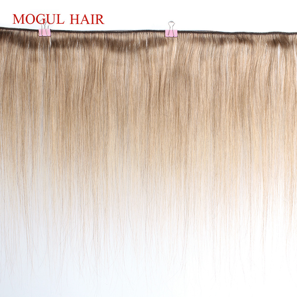 Image 2 - MOGUL HAIR Color 8 Ash Blonde Straight Bundles With Closure 16 24 inch Pre Colored Brazilian Non Remy Human Hair Extension-in 3/4 Bundles with Closure from Hair Extensions & Wigs