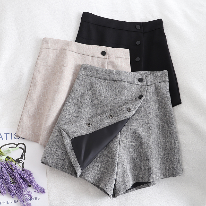 2020 Early Spring Ladies Retro High Waist Shorts Set Wide Legs