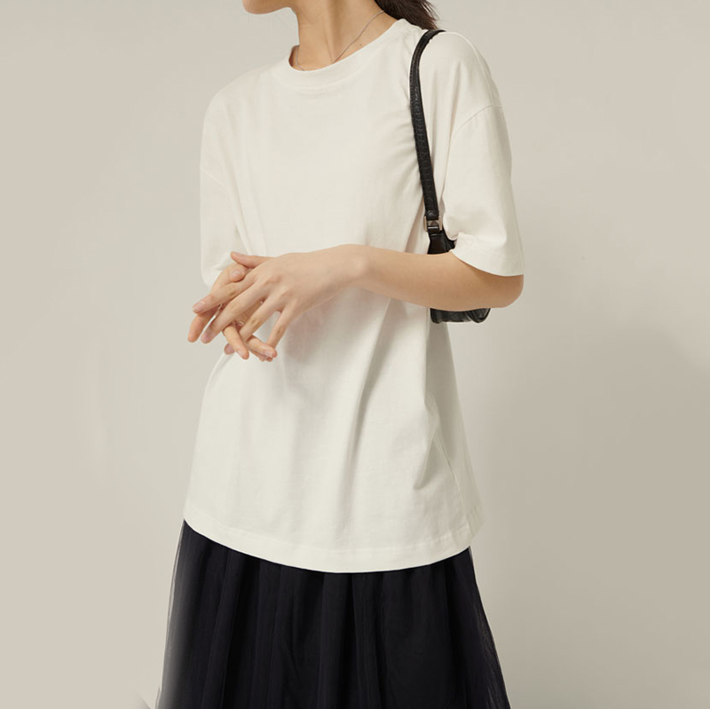 [EAM] Women White Brief Temperament Ovesized T-shirt New Round Neck Half Sleeve  Fashion Tide  Spring Autumn 2020 1R327