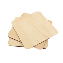 100pcs 100mm Unfinished Wood Squares Blank Wooden Square Cutouts Wood Slices for DIY Arts Craft Project Supplies and Decor