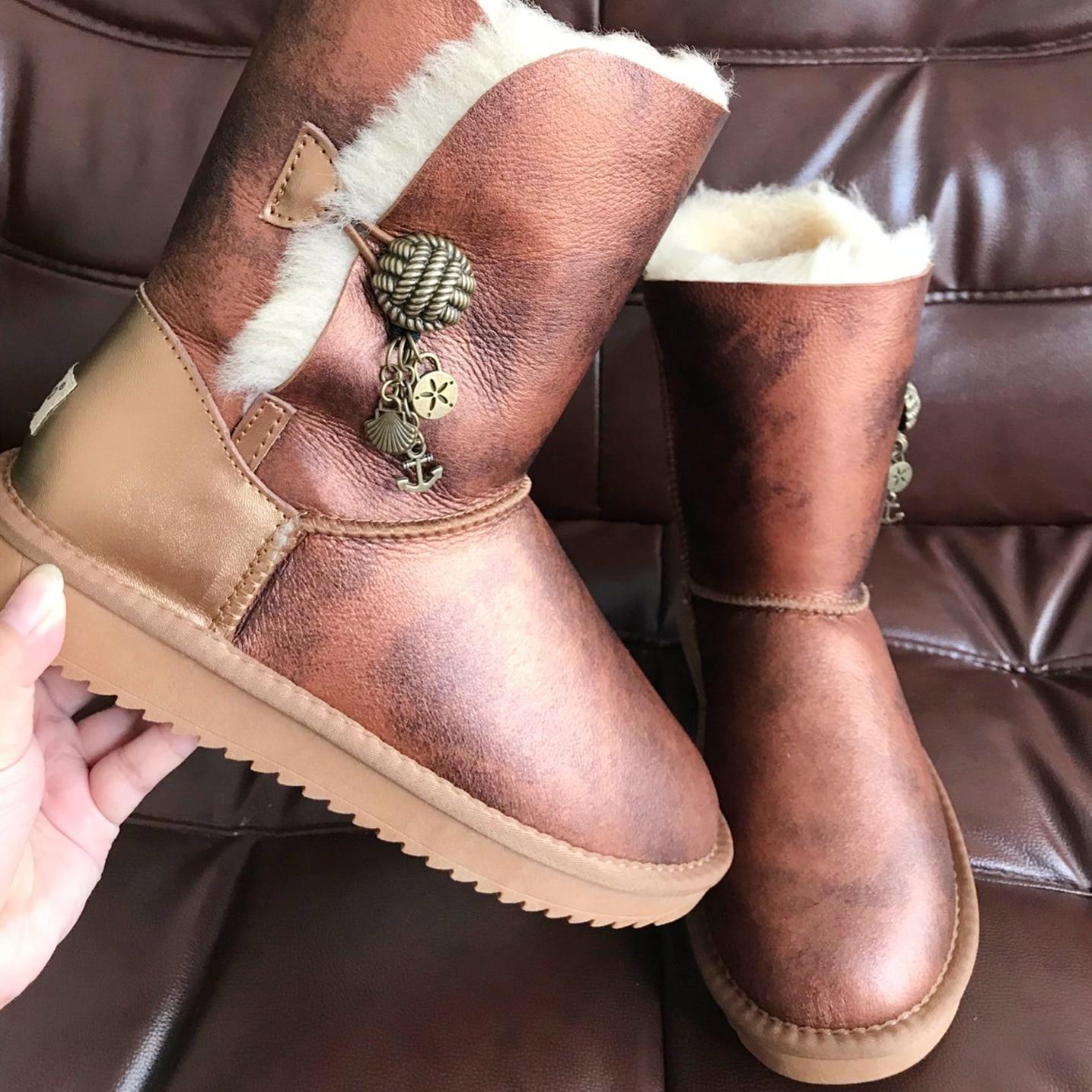 Marque femmes bottes de neige en peau de mouton véritable Learher bottes Matel bouton gland laine bottes de neige hiver plat imperméable chaussures de mouton - 5