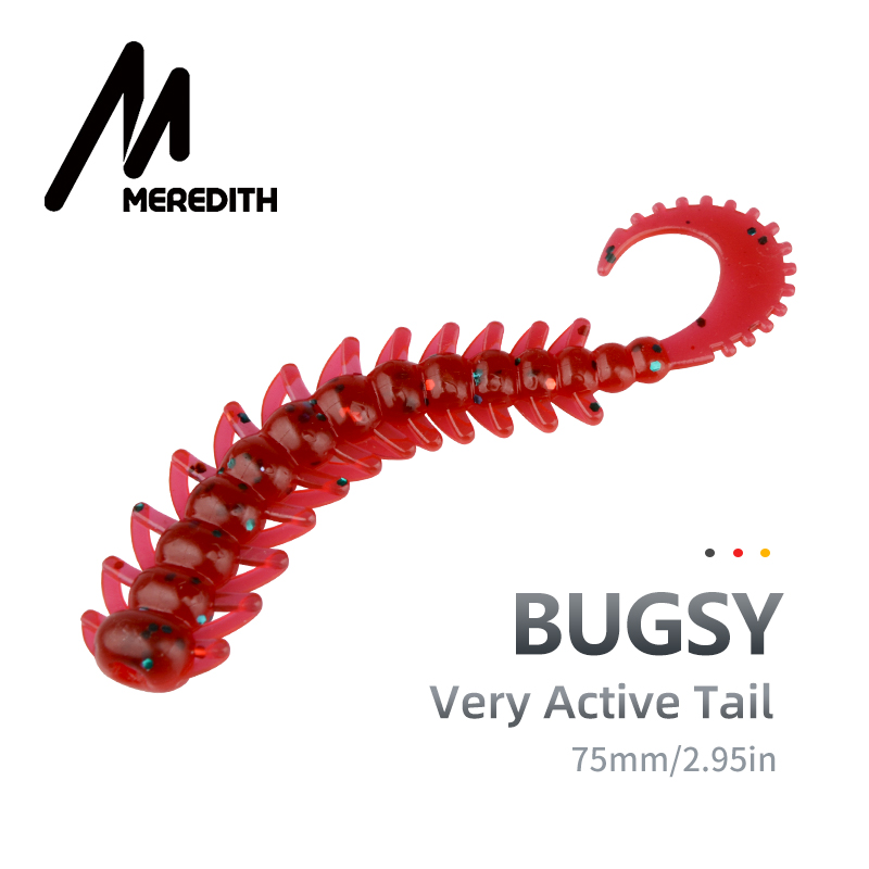 MEREDITH Fishing Lure Bugsy Silicone Baits 75mm 20pcs Fishing Wobbler Bass Pike Shad Artificial Swimbait Jigging Soft Lures