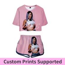 ורוד תלבושת שתי חתיכה קצר סט לנשים תלבושות 2019 2 חתיכה להגדיר נשים Ropa סקסי טרנינג קיץ חולצות אנסמבל femme