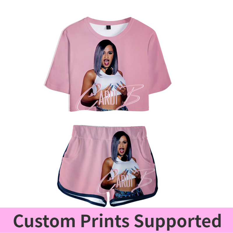 Cardi B Pink <font><b>Outfit</b></font> Two Piece Short Set For Women <font><b>Outfits</b></font> <font><b>2019</b></font> 2 Piece Set Women Ropa <font><b>Sexy</b></font> Sweatsuit Summer Tops Ensemble Femme image