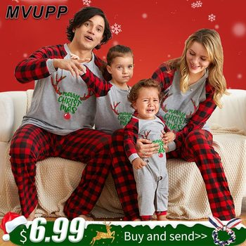 MVUPP family christmas pajamas mom dad and me matching clothes for kids clothing romper children set father mother baby girl boy