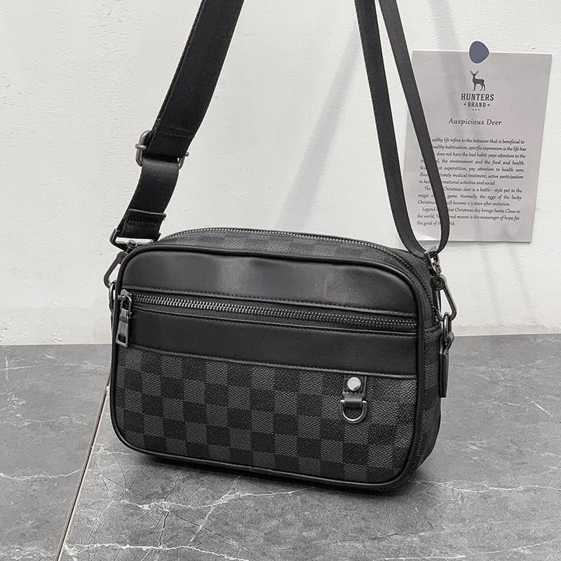Men Messenger Shoulder Bags Plaid Leather Briefcase Office Business Work For Tablet Handbag Male Female