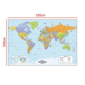 The World Physical Map 150x100cm Non-woven Waterproof Without National Flag For Education And Culture