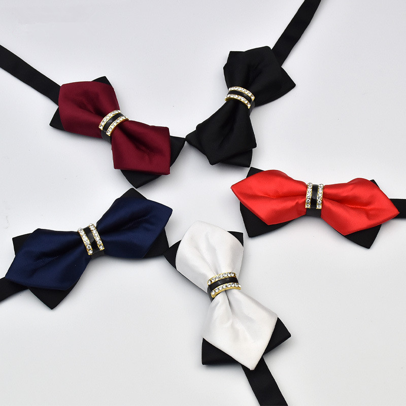 Novelty Rhinestone Pre-Tied Bow Ties For Men Groom Wedding Bowties Red Blue Gold White Man Bowtie Formal Suit Accessories C020