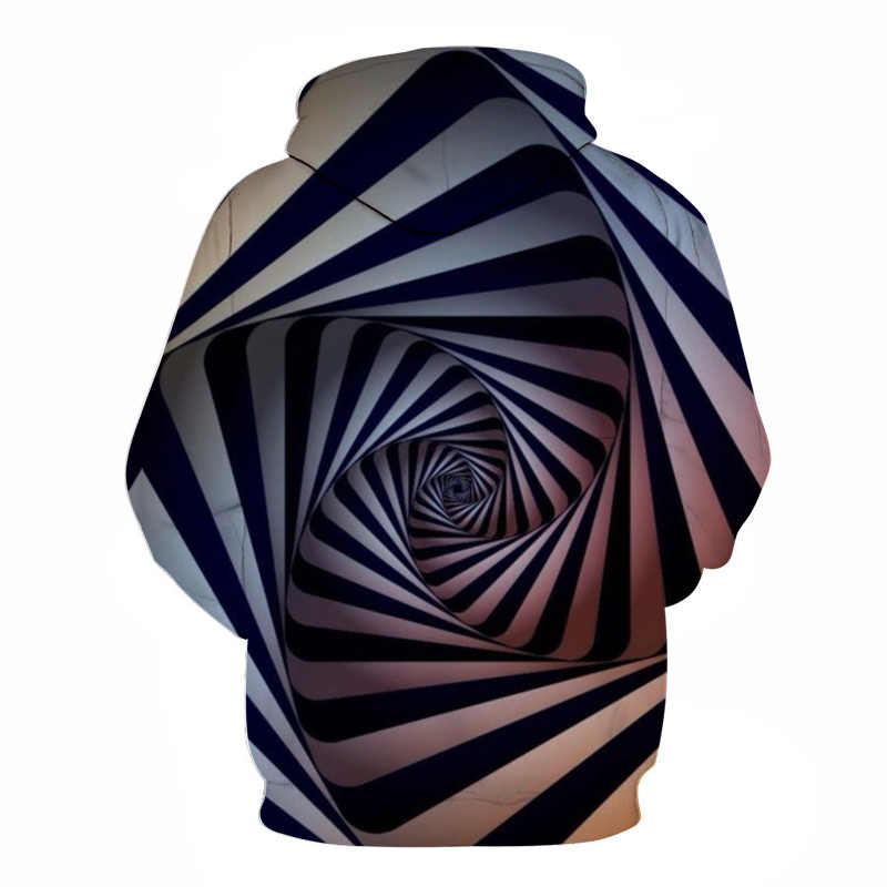 Schwarz weiß abstrakte spirale 3D digitaldruck hoodies mode herbst männer hoodie Männer Frauen lose lange ärmeln tasche sportswear