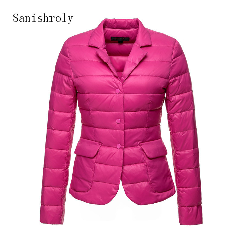 Sanishroly Autumn Winter Women Ultra Light White Duck Down Jacket Female Suit Collar Short Coat Parkas Tops Plus Size 2XL SE731