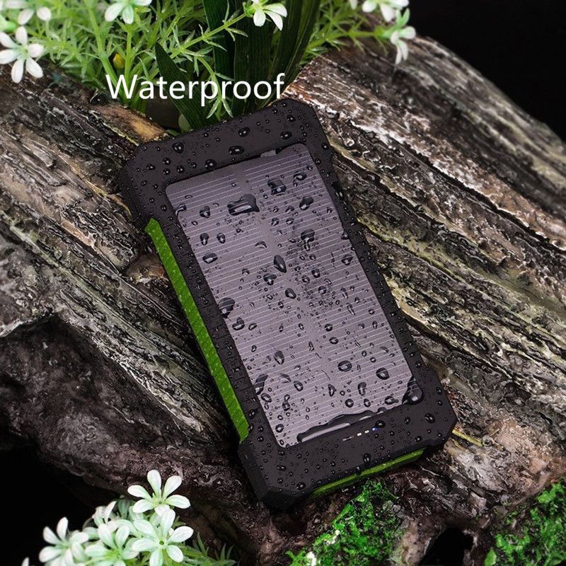 Solar Power Bank Waterproof 30000mAh Solar Charger 2 USB External Charger Powerbank for Xiaomi iphone smartphone with LED Light in Power Bank from Cellphones Telecommunications