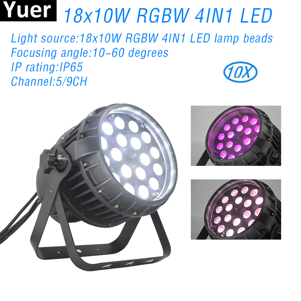 10Pcs/Lot Waterproof Zoom Par Light DMX512 18X10W RGBW 4IN1 LED Zoom 10-60 Degrees For DJ Dsico Wedding Party Stage Effect Light
