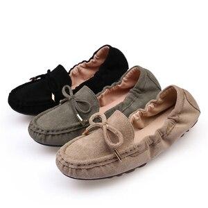 Image 3 - حذاء نسائي جديد صيفي بدون كعب حذاء أكسفورد 2020 حذاء نسائي مسطح غير رسمي أسود أخضر ناعم تصميم علامة تجارية بدون كعب
