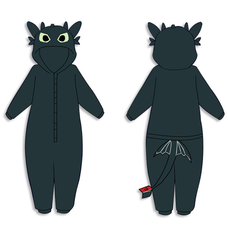 Pajamas Anime Jumpsuit-Suit Sleepwear Costumes Kids Train Toothless Cosplay Dragon Adults title=