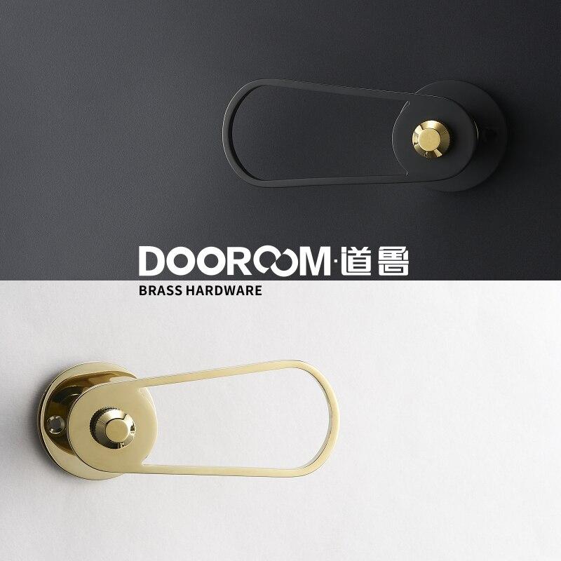 Dooroom Brass Door Lever Ultra-thin Mute Black Gold Modern Interior Room Bedroom Bathroom Wood Door Lock Split Handle Knob