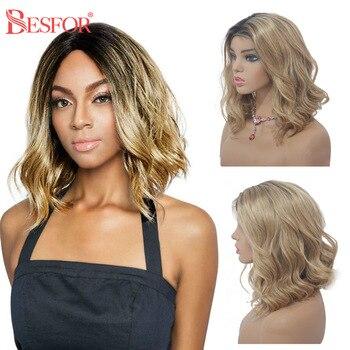 Pelucas de encaje de onda de cuerpo de Ombre pelucas frontales de encaje de cabello humano virgen para mujeres negras onduladas cortas 13x6 Peluca de encaje Frontal parte media