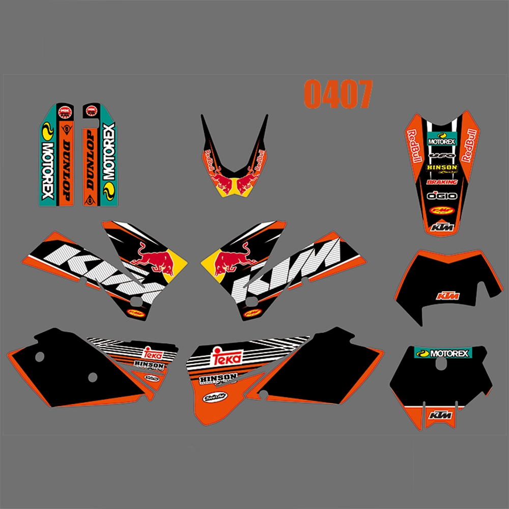 For KTM 125 200 250 300 400 450 525 540 EXC 2005 2006 2007 Full Graphics Decals Stickers Kit Custom Number Name Glossy Stickers